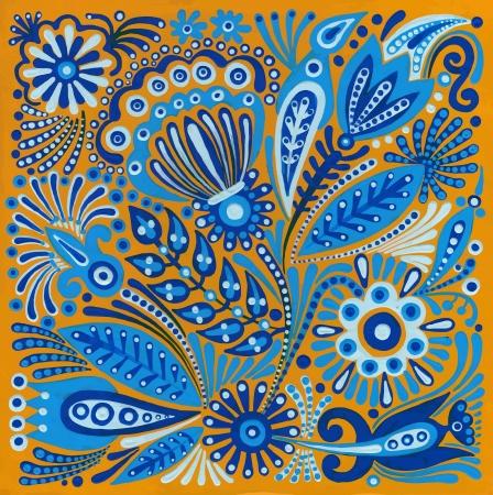 folk art: hand draw acrylic painting flower vector ethnic design. Ukrainian traditional painting