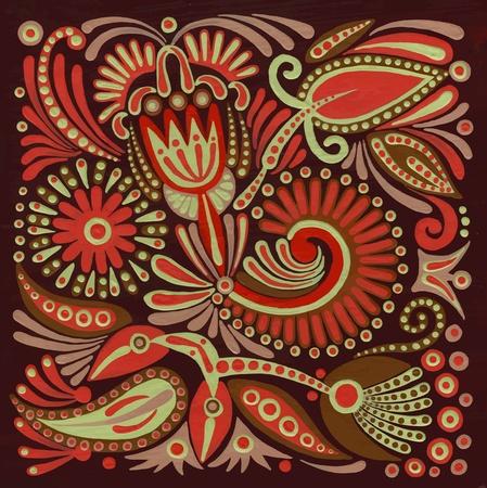 etnia: mano dibujar diseño étnico acrílico vector de la flor pintura. La pintura tradicional de Ucrania