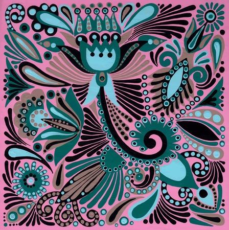 acrylic painting: hand draw acrylic painting flower vector ethnic design. Ukrainian traditional painting