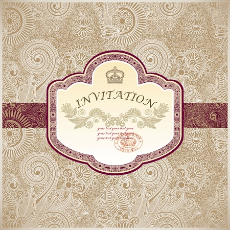 french label: Vintage template with floral background  Illustration