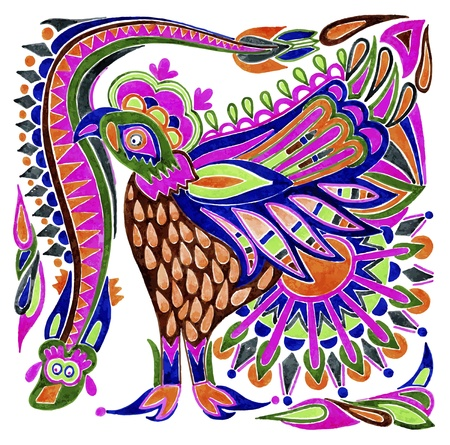 folk art: hand draw marker painting bird vector ethnic design Illustration
