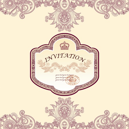 Vintage template with floral background Stock Vector - 12392434