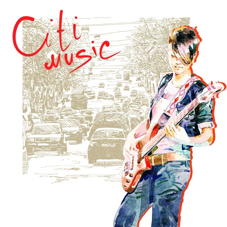 guitarist: hand draw watercolor teenager girl playing guitar in city background composition  Illustration