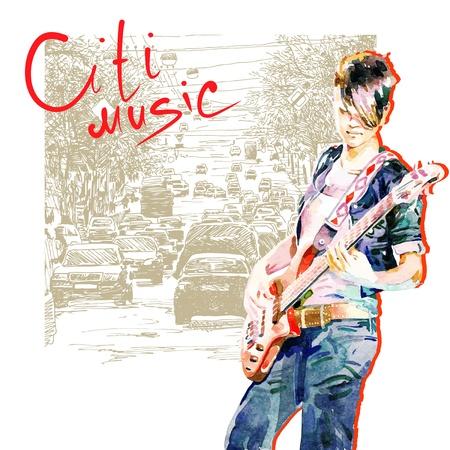 guitariste: main dessiner adolescente aquarelle jouer de la guitare dans la composition de fond la ville