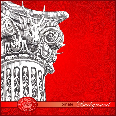draw a sketch: hand draw sketch column with floral ornate background  Illustration