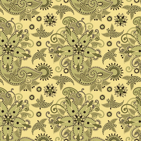 seamless flower paisley design background Stock Vector - 12392442