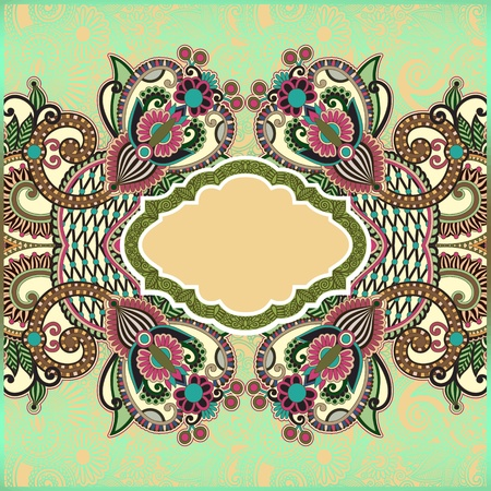 ornamental template with floral background  Vector