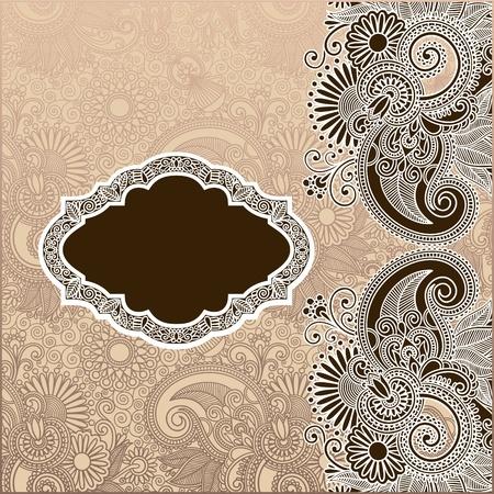wedding card design: ornamental template with floral background  Illustration