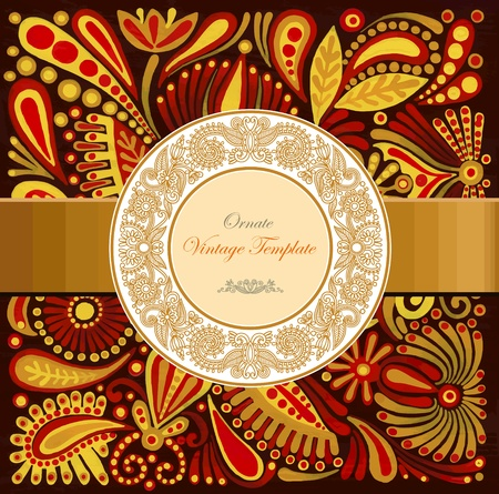 ornamental template with floral background  Stock Vector - 12392449