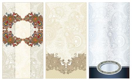 three ornamental floral pattern Vector