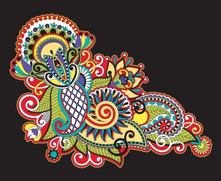 Hand draw line art ornate flower design Stock Vector - 12392516