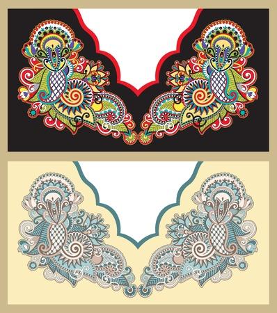 neckline: Neckline embroidery fashion. Ukrainian traditional pattern
