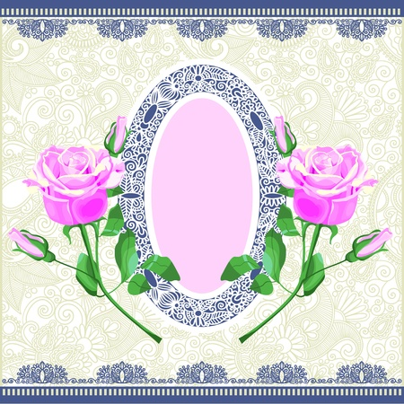 pink rose ornamental decoration  Vector