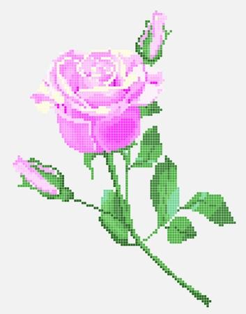 punto cruz: el elemento tradicional del bordado ucraniano (rosa rosa) Vectores