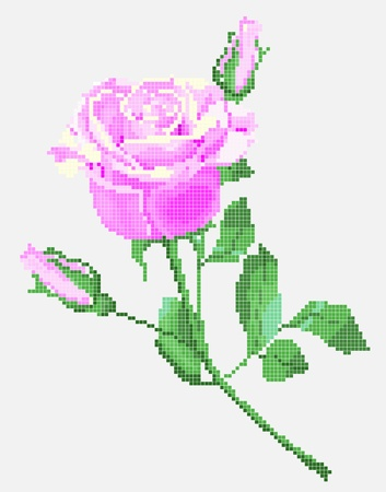 cross stitch: traditional Ukrainian embroidery element (pink rose)