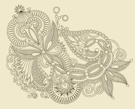 intricate: Hand draw line art ornate flower design  Ukrainian traditional style