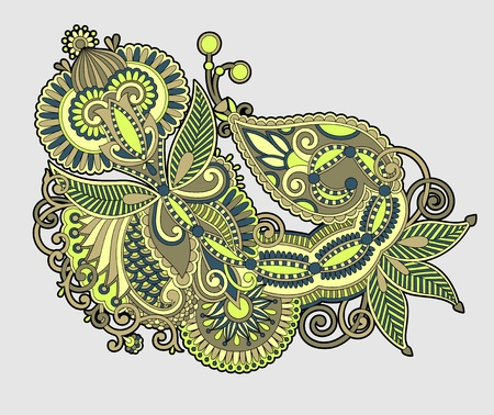 Hand draw line art ornate flower design  Ukrainian traditional style  Vector