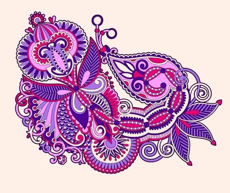 Hand draw line art ornate flower design  Ukrainian traditional style Stock Vector - 12976604