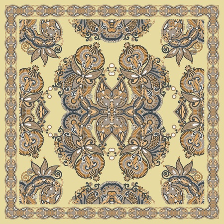 silk scarf: Traditional Ornamental Floral Paisley Bandana