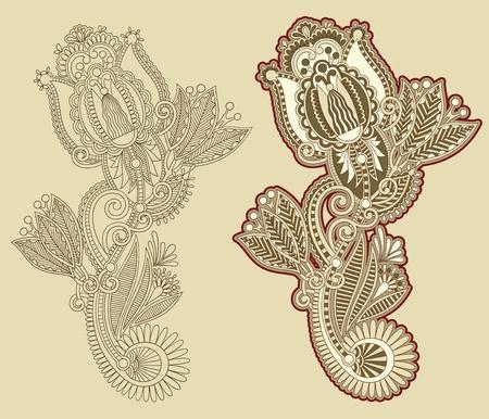 Hand draw line art ornate flower design Stock Vector - 12976664