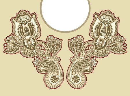 Neckline embroidery fashion Illustration