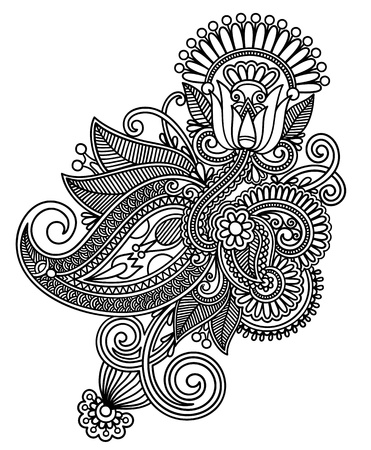 intricate: Hand draw line art ornate flower design