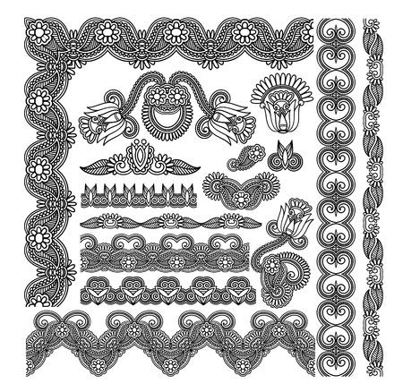 modular: black flower ornamental stripe and decoration pattern