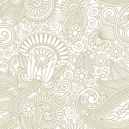 flores sin fisuras paisley diseño de fondo Ilustración de vector