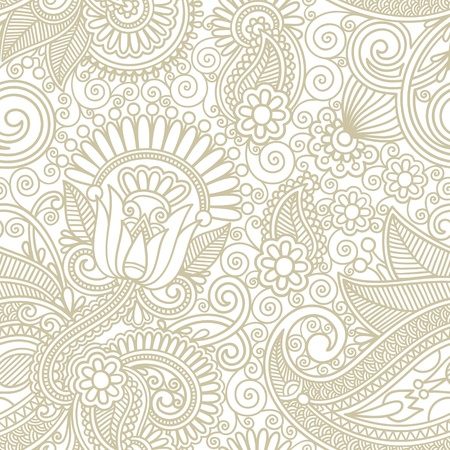 repeating pattern: seamless flower paisley design background  Illustration