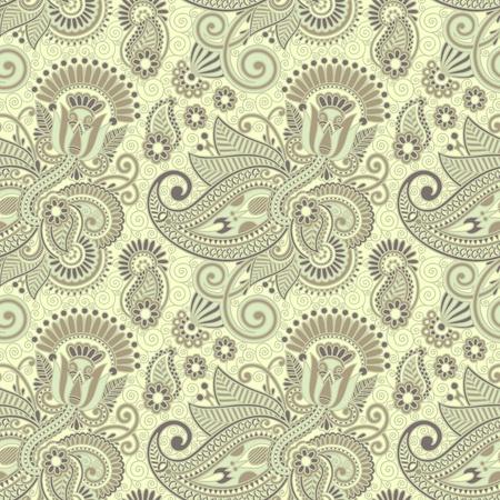seamless flower paisley design background  Illustration