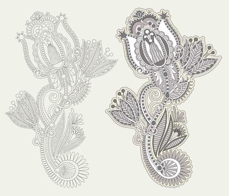 Hand draw line art ornate flower design Stock Vector - 12976662