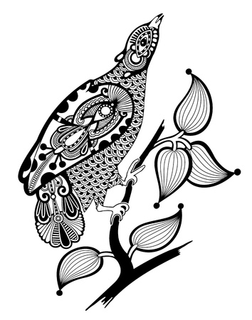 hand draw ornate ink bird decoration  Vector
