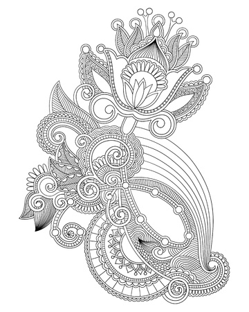 black and white line drawing: Hand draw line art ornate flower design