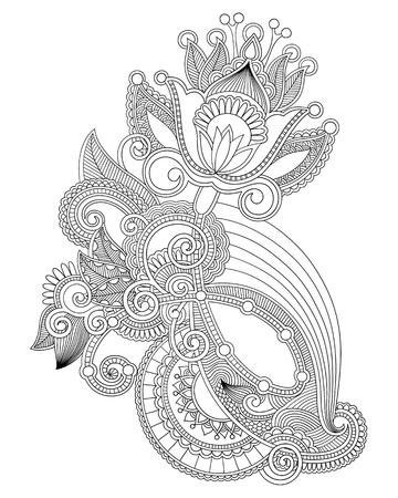 disegno cachemire: Mano draw line art ornato di fiori di progettazione Vettoriali