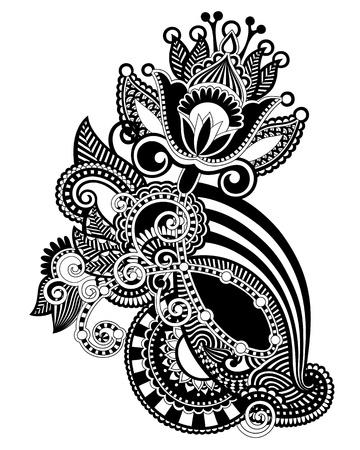 indium: Hand draw line art ornate flower design