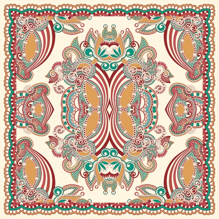 sjaal: Traditionele Ornamental Bloemen Paisley Bandana Stock Illustratie