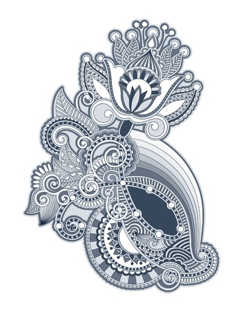 embellishments: line art ornate flower design
