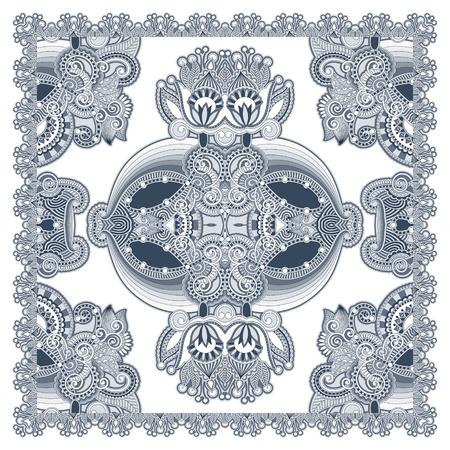 kerchief: Traditional Ornamental Floral Paisley Bandanna  Illustration