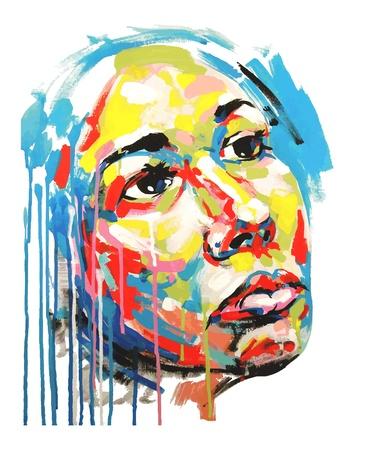 acrylic painting: Original acrylic painting color portrait of women