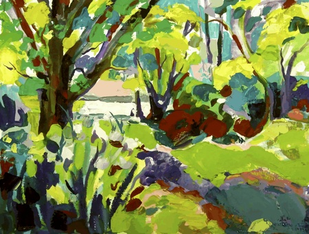 canvas painting: Original oil painting landscape with tree Illustration