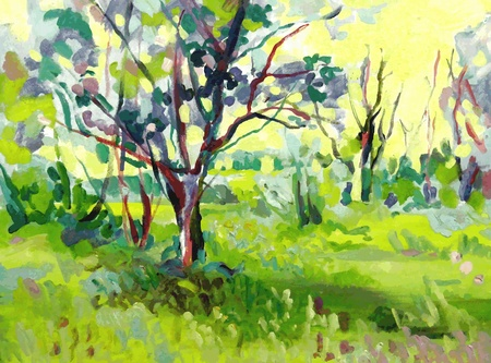 impressionism: Original oil painting landscape with tree Illustration