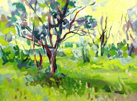 impressionism: Original oil painting landscape with tree Illustration