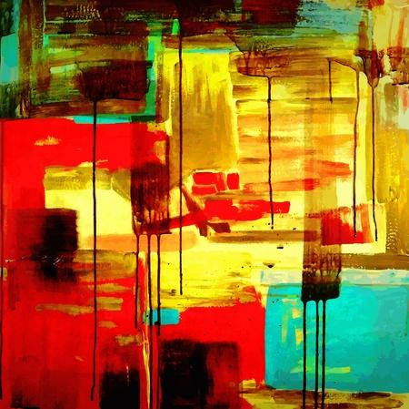cuadro abstracto: Dibujar a mano abstracta pintura acr�lica composici�n Vectores