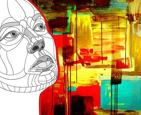acrylic painting: original hand draw women face construction