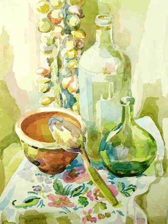 etude: handmade watercolor kitchen still life with pot, glass bottle, spoon and bow Illustration