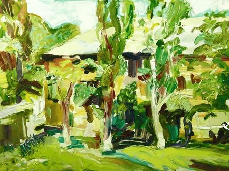 origineel olieverfschilderij voorjaar dorp landschap