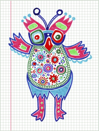 doodle owl marker drawing  Vector