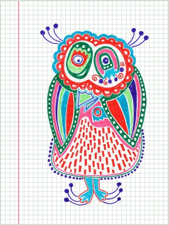 clumsy: doodle owl marker drawing