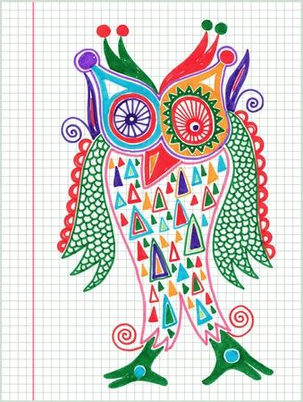 folk art: doodle owl marker drawing