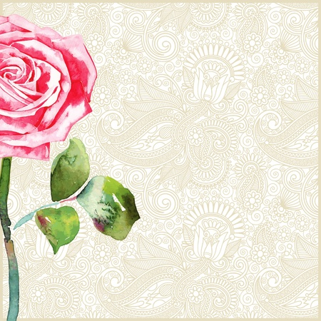 watercolor rose in floral background  Vector